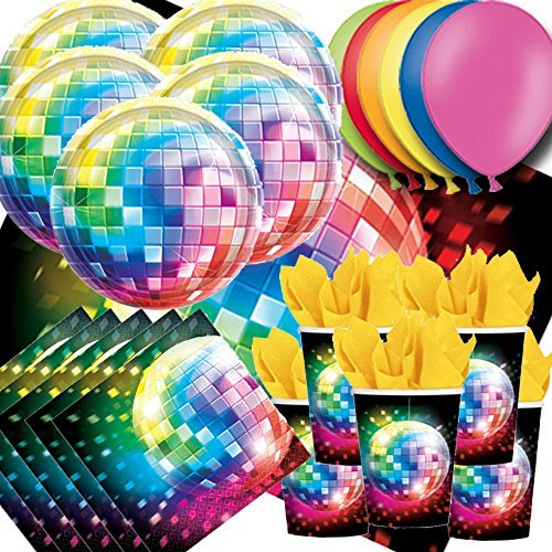 (70s Disco Fever Party Pack For 16 - Plates, Cups, Napkins, Balloons and Tablecovers by Signature Balloons )