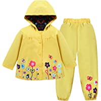 LZH Impermeable Chubasquero para Niña, Flores Chaqueta con Capucha Pantalones Conjunto