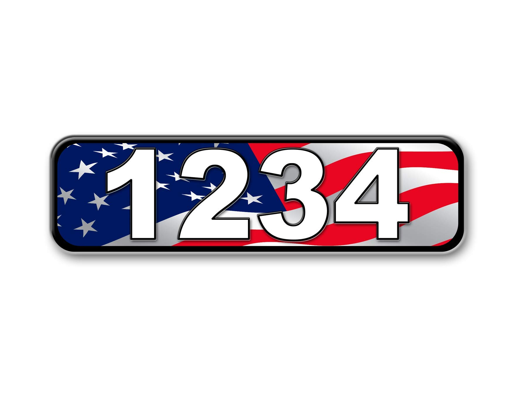 American Flag, Reflective Curb Address Sign