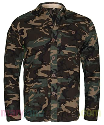 38a7aba74779b Mens Khaki Camo Army Print Button Up Multi Pocket Shirt Jacket Coat S M L XL  XXL