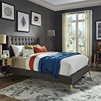 iNSPIRE Q Niels Danish Modern Tufted Fabric Upholstered King Size Bed Modern Grey