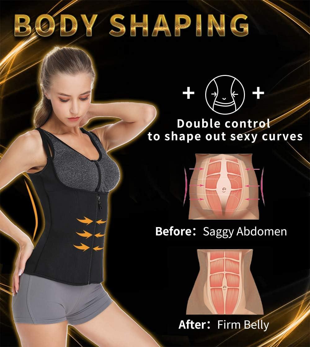 SLIMBELLE/® Mujer Camiseta Sauna Chaleco Neopreno Adelgazant Cors/é de Entrenamiento Faja Reductora de Sudoraci/ón para Deporte Fitness
