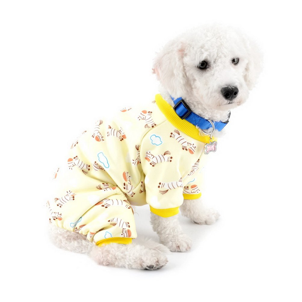 SELMAI Small Dog Cat Winter Pajamas Fleece Lined Zebra Pet Puppy Doggie Indoor Jumpsuit Coat Dachshund Sweater Chihuahua Clothes Outfits Apparel Yellow XXL