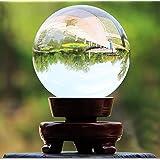 Sumnacon Boule en verre claire pour Photographie, Décoration - Sans bulle, Transparent avec le Support en Bois (60mm,80mm,100mm) (60mm)
