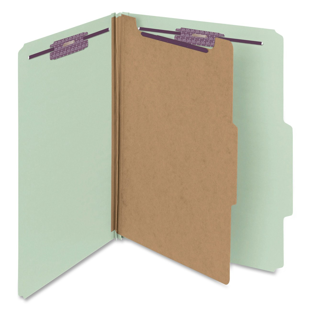 Smead Pressboard Classification File Folder with SafeSHIELD Fasteners, 1 Divider, 2'' Expansion, Letter Size, Gray/Green, 10 per Box (13776)