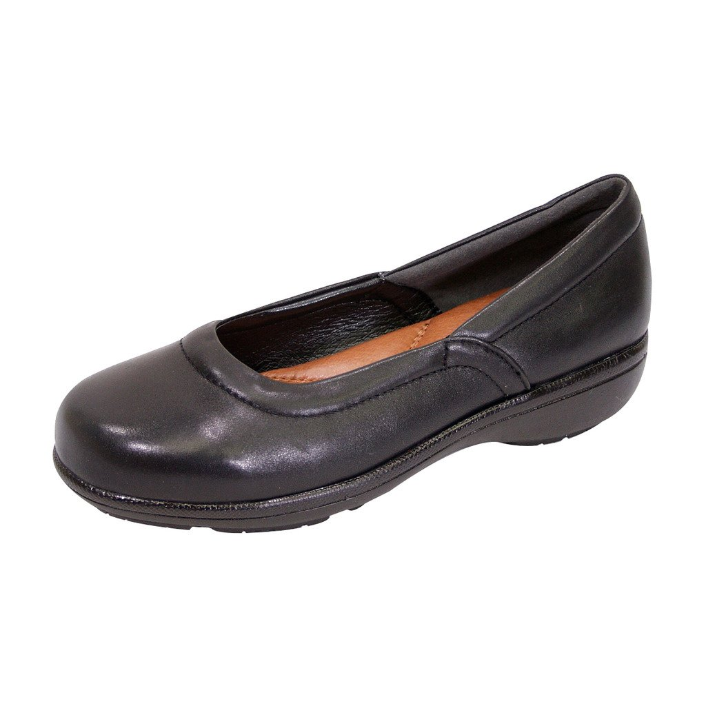 Peerage FIC Vicki Women Extra Wide Width Leather Wedge Loafer Black 8