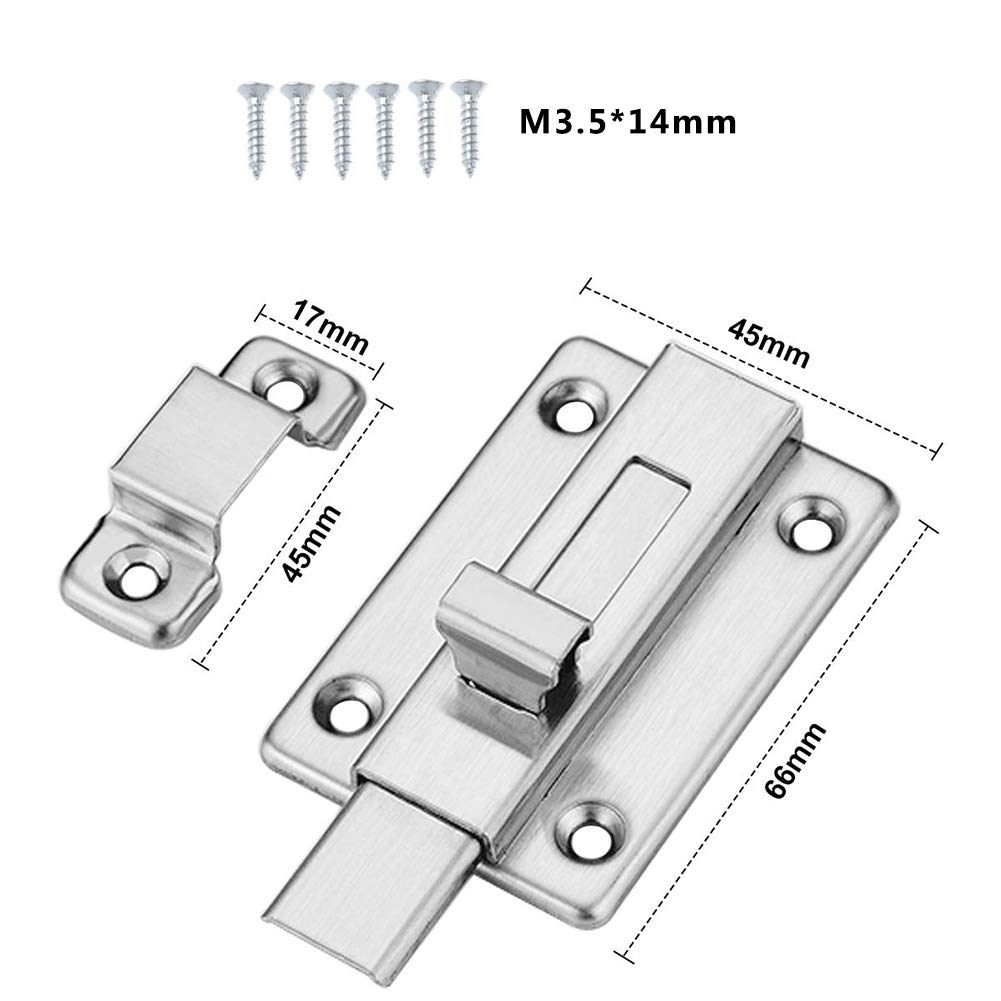 Boulons de porte SUNSHINETEK 2 pi/èces Verrouillage de porte coulissante Verrous de porte de s/écurit/é en acier inoxydable avec vis pour porte de salle de bain et portes de remise