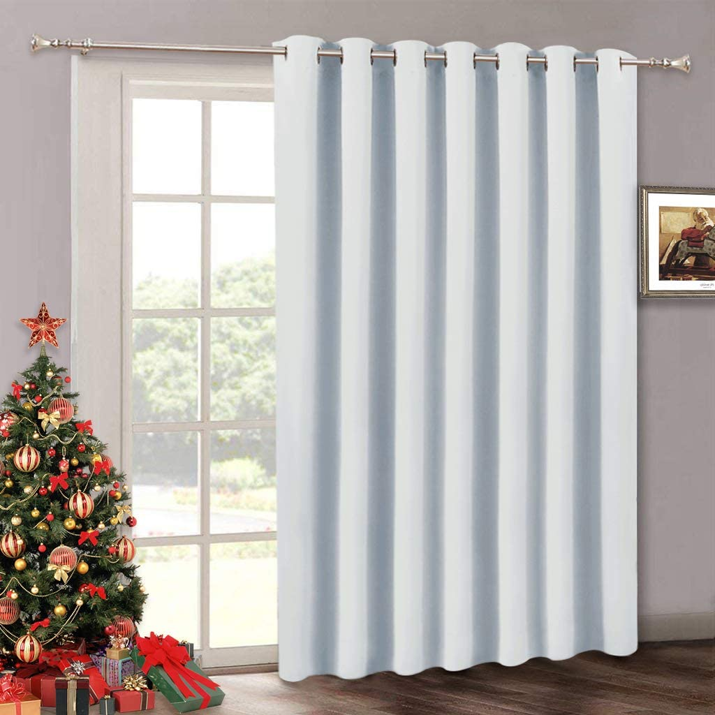 Room Darkening Bedroom Curtains - Decorative Veitical Door Blinds for Sliding Glass Door, Thermal Insulated Curtain Panel for Patio Door Front, Large Dining Window Closet, 100 W x 84 L, Greyish White
