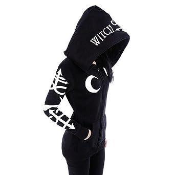Wenfumei Women Lunar Print Zipper Hoodie Hooded Jacket Rocker Puck Gothic Sweatshirt by Wenfumei