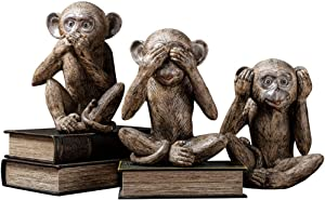 Barm Three Truth of Man Figurines, Resin Home Office Decoration Gifts, Evil Animal Statues That Don't Speak, Hear No, Three Monkey Animal Sculptures, Don't See