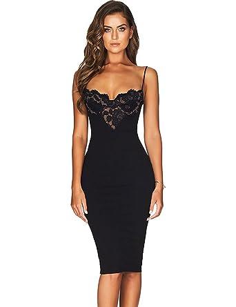 e260164d7d0d Maketina Women Lace Bra Spaghetti Straps Midi Sexy Bandage Bodycon Dress  Black XS