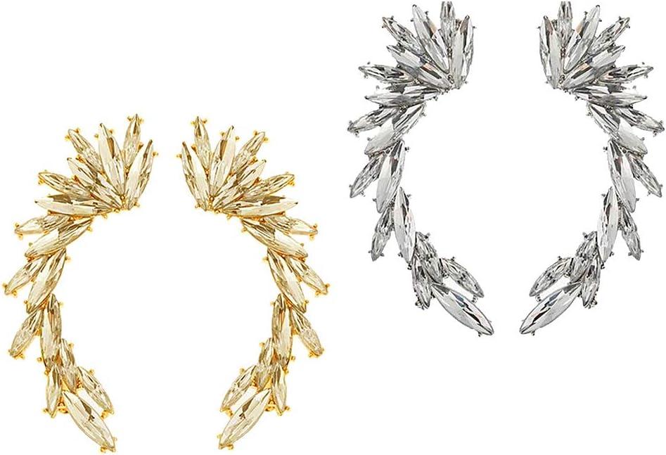 freneci 2 Pares de Pendientes de Hojas Diamante Ear Cuff Crawler Climber Stud Ear Jewelry