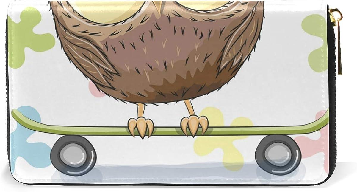 GIOVANIOR Skateboarding Hipster Owl Womens Clutch Purses Organizer And Handbags Zip Around Wallet