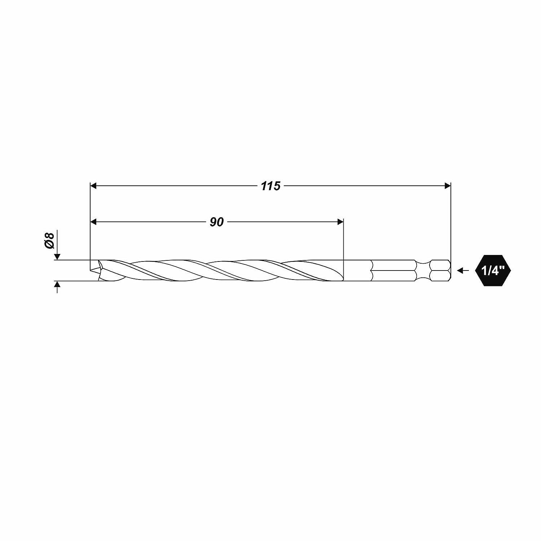 "Ø 4 x 95 mm Holzbohrer mit HEX 1//4/"" Aufnahmeschaft Bohrer Bitbohrer"