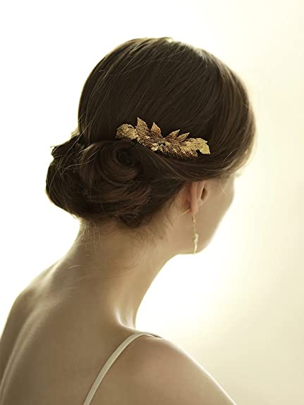 Goddess Gold Leaf Tiara Comb Bridal Wedding Hair Clip Combs