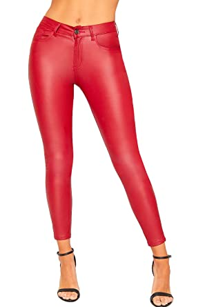 fb64682af132 WearAll Women s Faux Leather Wet Look PU High Waisted Skinny Leg Trousers  Ladies Jeans - Red - 6  Amazon.co.uk  Clothing