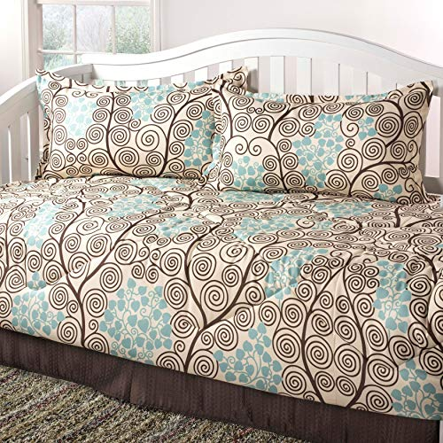 Overstock Pippa Brown Seafoam Daybed Set