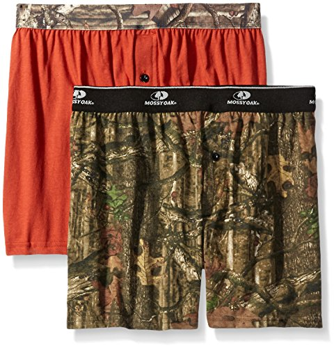 (Mossy Oak Men's 2 Pack Assorted Knit Boxers, Assorted Rusty Bronze/Break Up Infinity, Medium)