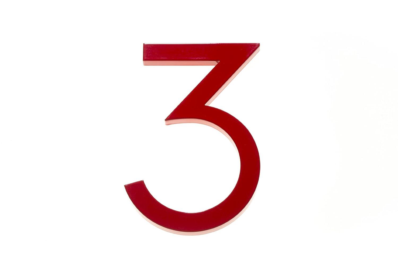 Modern House Number Red Color Aluminum Modern Font Number