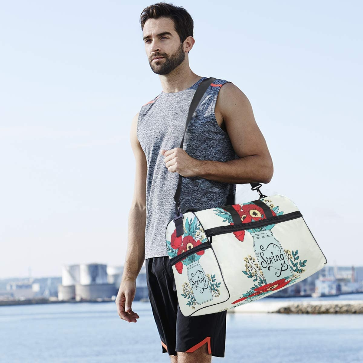 WIHVE Gym Bag Flower Poppy Floral Sports Travel Duffel Bag with Shoe Compartment