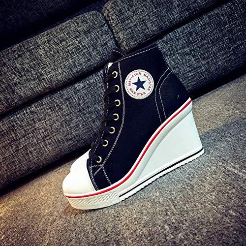 Donne Nascosto Canvas Alta Ginnastica Casual Scarpe Invisibile Piattaforma Zeppa Top Tacco Sneakers Da Nero Traspirante rtqwIr
