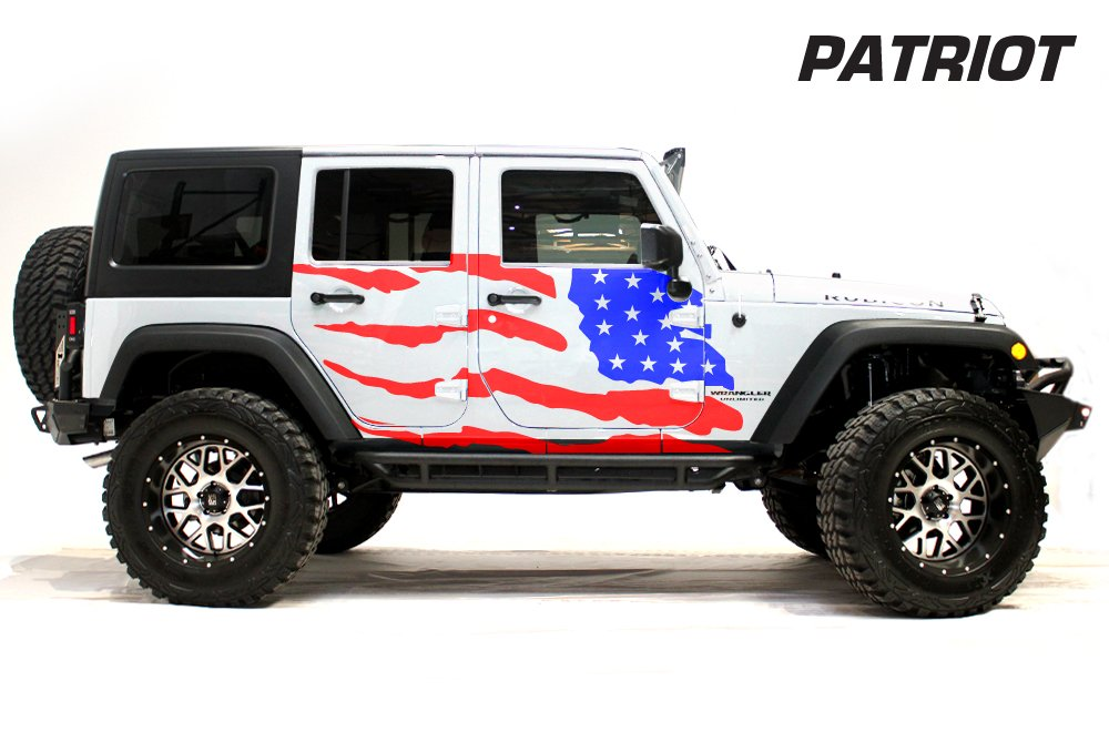 Red and Blue FactoryCrafts Jeep Wrangler 2007-2016Patriot Graphics Kit 3M Vinyl Decal Wrap