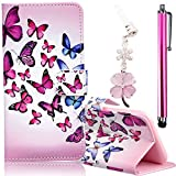 Samsung Galaxy S6 Edge Embossing Pattern Case, Bonice Magnetic Snap PU Leather Wallet Case [Free Metal Stylus Pen + Diamond Antidust Plug] Hybrid Silicone Rubber Gel Anti Scratch Shockproof Protective Bumper-Butterfly