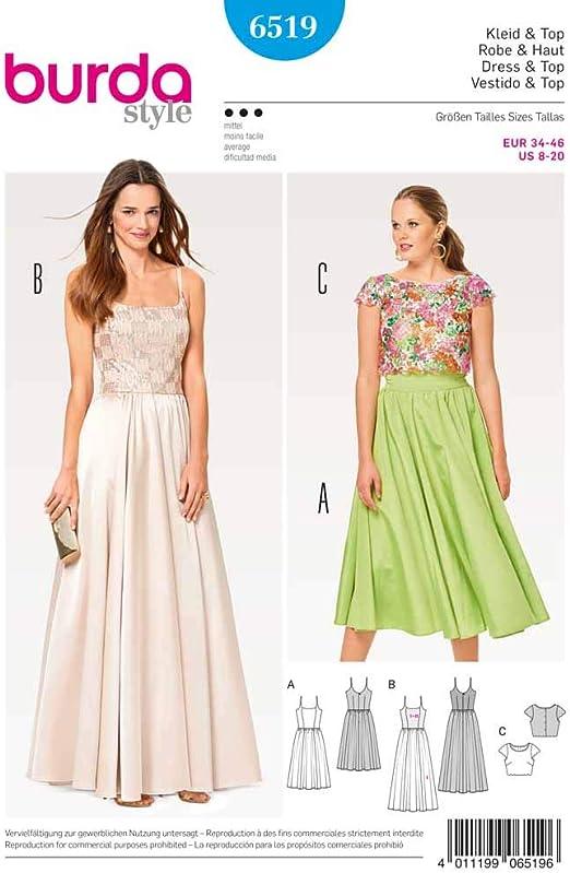 Burda patrón de costura para vestido de elegante correa de tamaño ...