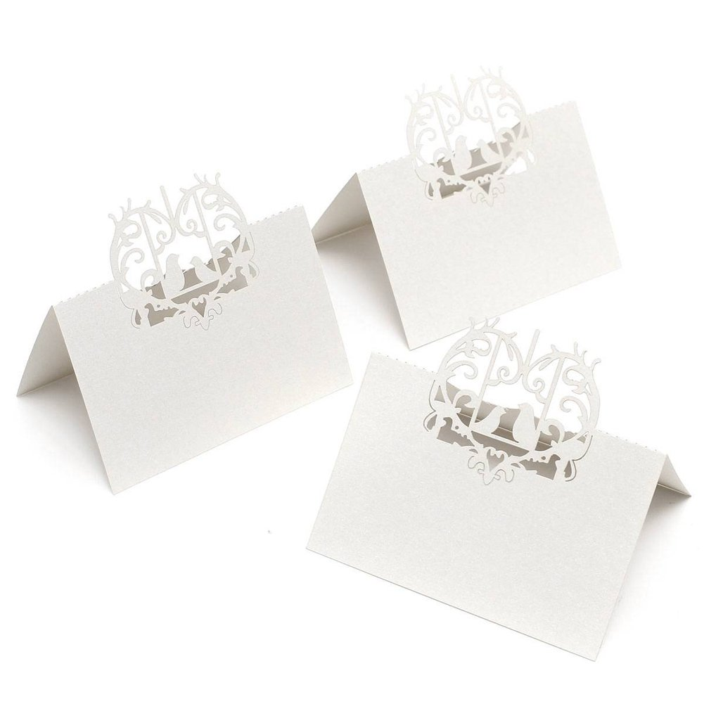 50 PCS Perfect Pair Love Birds Heart Wedding Place Card Table Guest Number Banquet Party Decoration (White)
