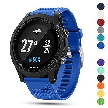 iFeeker Correa para reloj deportivo Garmin Forerunner 935 GPS, de 22 mm de ancho, de silicona suave, instalación rápida