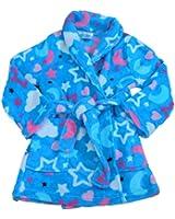 AME Girls Blue Star Robe Plush Fleece Bathrobe Belted Tie Front House Coat