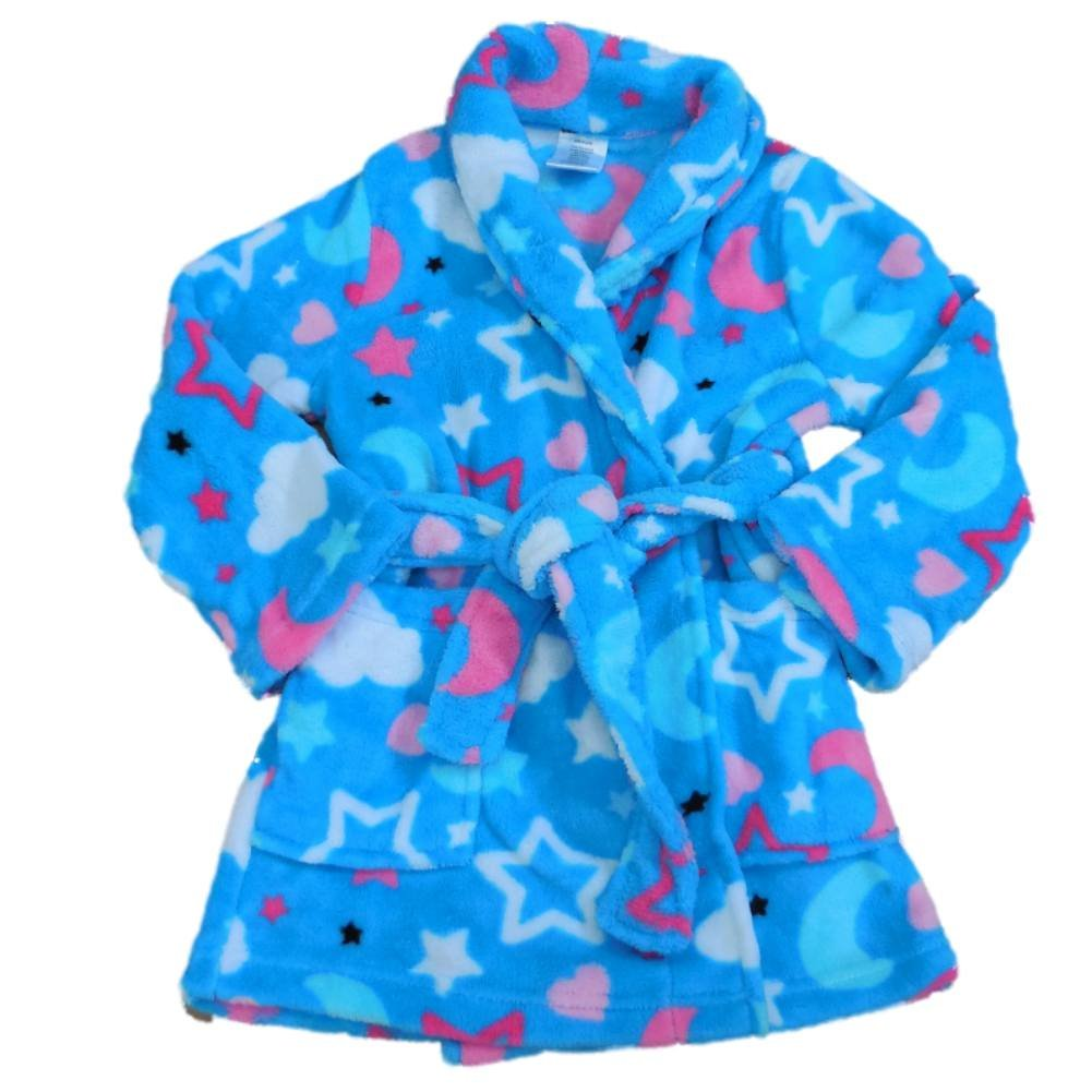 AME Girls Blue Star Robe Plush Fleece Bathrobe Belted Tie Front House Coat