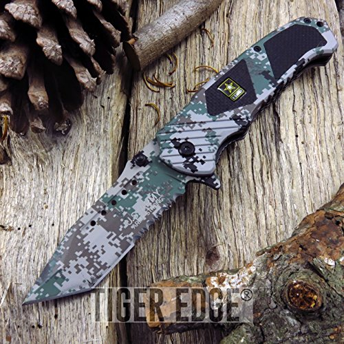 NEW! US Army Serrated Digital Camo Heavy Duty Combat Folding ProTactical Limited Edition Elite SPRING ASSISTED (New Digital Camo)