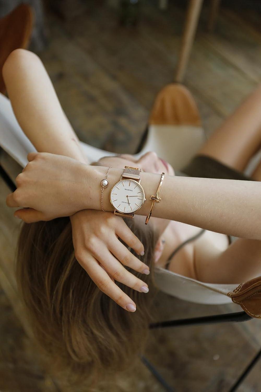 ec7822375c10 MAMONA Women s Rose Gold Quartz Watch Gift Set Waterproof Mesh Band  Wristwatch Ultra Thin L3881RGGT