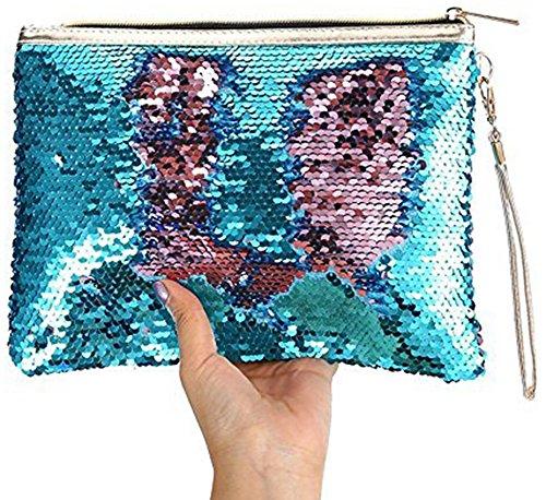 ROOSSI Mermaid Sequins Cosmetic Bag Bling Clutch Handbag Evening Clutch Envelope Bag Zipper Makeup Blue