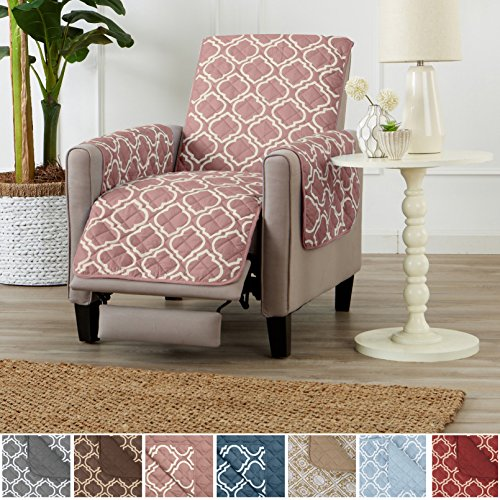 Recliner Prints (Home Fashion Designs Adalyn Collection Deluxe Reversible Quilted Furniture Protector. Beautiful Print on One Side/Solid Color on the Other for Two Fresh Looks. By Brand. (Recliner, Misty Rose))