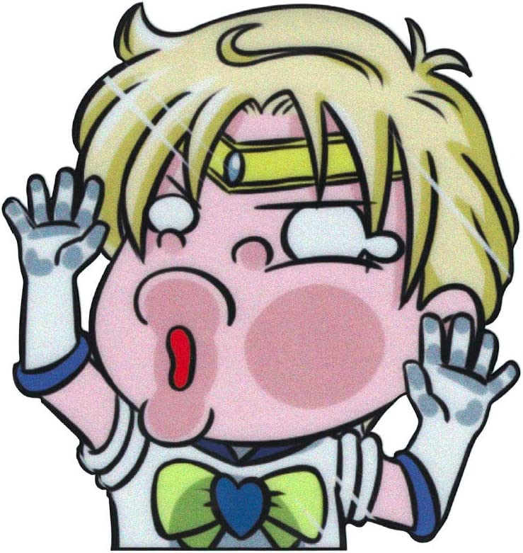 "Funtaku - Sailor Uranus [Haruka Tenoh] Sailor Moon Funny Hitting Glass Vinyl Decal Sticker for Car/Window/Computer (4.5"" x 4.7"")"