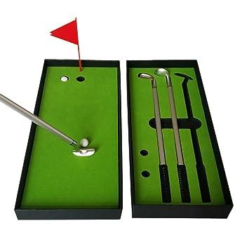 COSTOM Juego de bolígrafos de Golf, Mini bolígrafos de Escritorio con 2 Bolas, Color Verde, Bandera, 3 Colores de Metal, Modelos de Palos de Golf