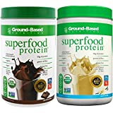 Ground-Based Nutrition Certified Organic Superfood Protein Bundle - Vanilla and Chocolate - Zero Carb Plant-Based- Raw Food Protein Powder | All Natural Formula, Vegan, Sugar-Free, Vegan, Non-GMO