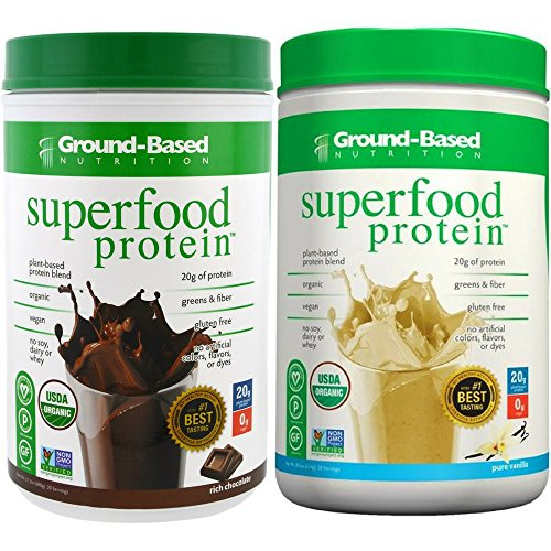 Ground-Based Nutrition Certified Organic Superfood Protein Bundle - Vanilla and Chocolate - Zero Carb Plant-Based- Raw Food Protein Powder | All Natural Formula, Vegan, Sugar-Free, Vegan, Non-GMO by Ground-Based Nutrition