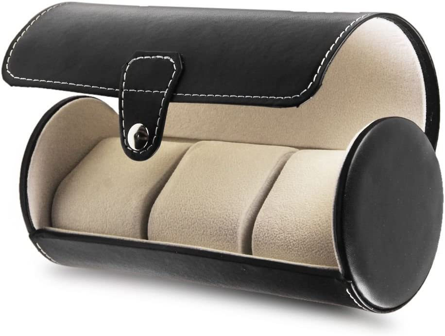Annstory Travel Watch Storage Organizer Case for 3 Watches Leatherette Roll Great Gift, Black