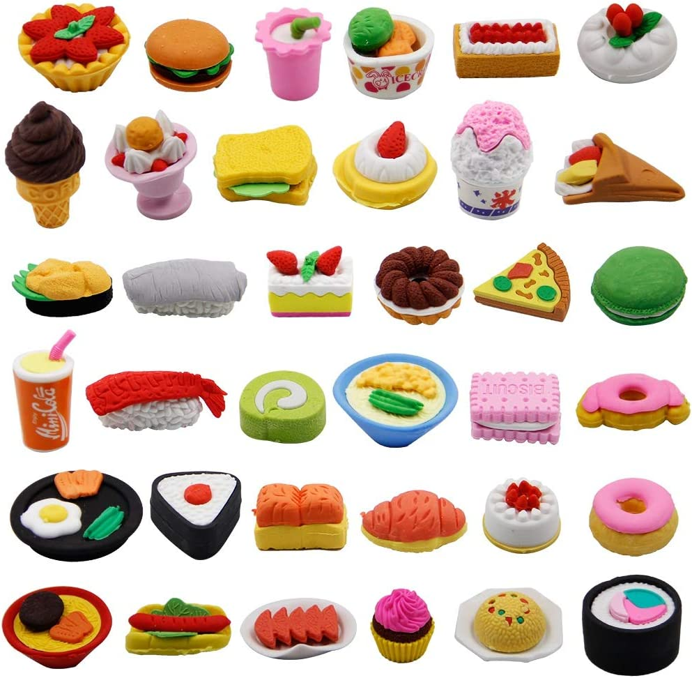 Cllayees 72 Pcs Assorted Food Pencil Erasers Toy Set, Cake Dessert Fruit Puzzle Erasers Toys for Kids Reward Party Favors (Food)