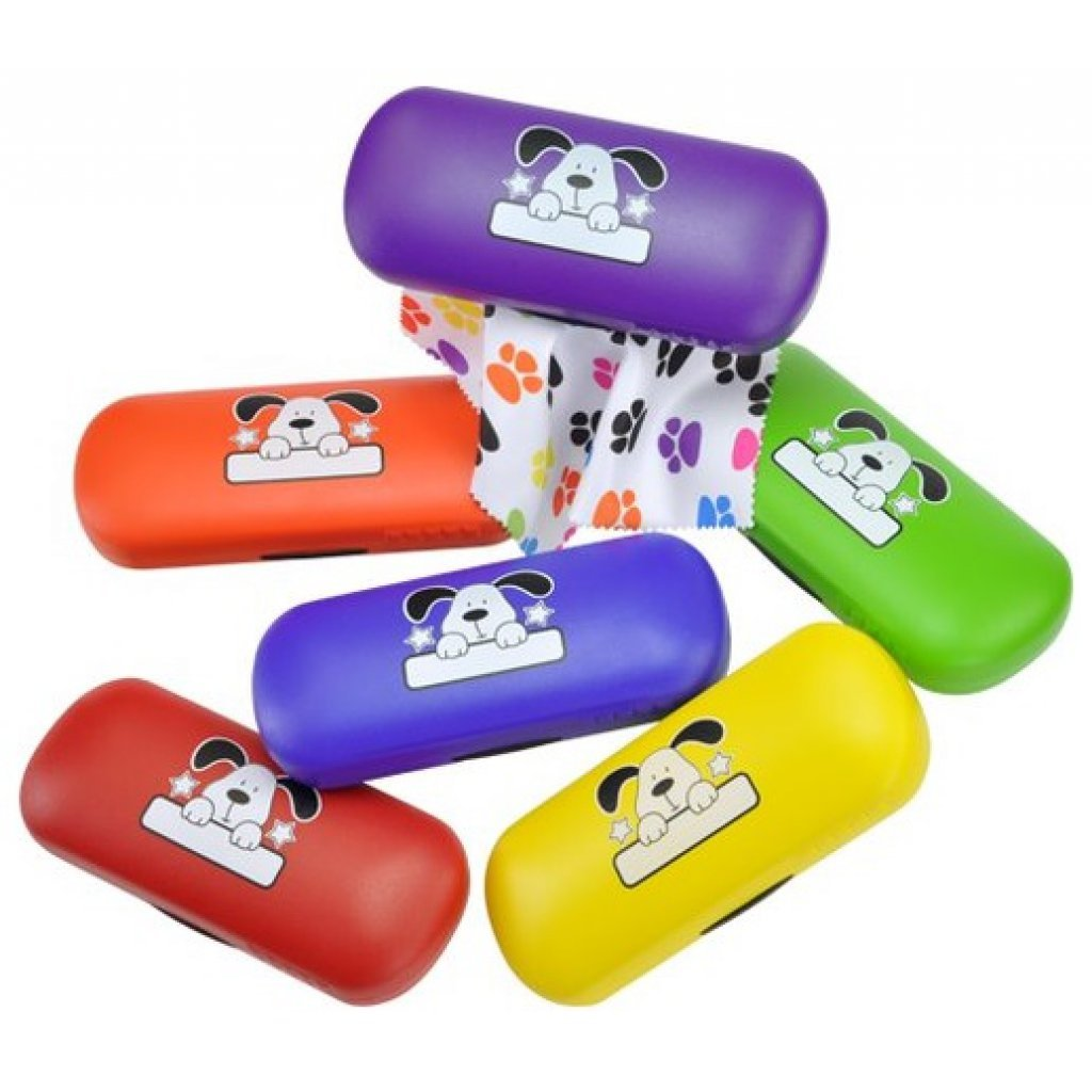 'Divertida Funda de gafas para niños wuffi con paño de microfibra a juego.