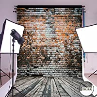 MOHOO Photography Background 5X7ft Cotton Polyester Brick Wall Wood Floor backdrop Collapsible and Washable Studio Photo Props for Photography (Updated Materia) 1.5mx2.1m