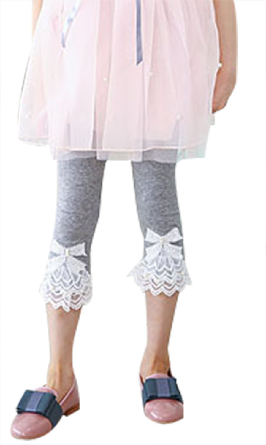 Girls Skinny Stretch Lace Capri Jeans Leggings Clothes Outfit¬Grey 2T