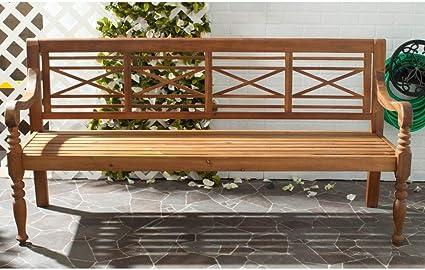 Amazon Com Safavieh Patio Collection Martin Adirondack Acacia Wood Bench Natural Outdoor Benches Garden