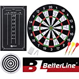 BETTERLINE Double-Sided Flocked Dart Board Set - Includes 6 Darts and Cricket Scoreboard Kit - 43 Centimeters (17 Inches) Diameter Dartboard - by
