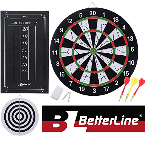 BETTERLINE Double-Sided Flocked Dart Board Set - Includes 6 Darts and Cricket Scoreboard Kit - 43 Centimeters (17 Inches) Diameter Dartboard - by by BETTERLINE
