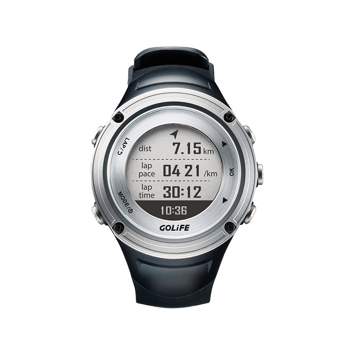 GPS Watch with Barometer GOLiFE X-pro Adventurer Outdoor Running Watch for Men Triathlon Swimming Climbing Hiking Cycling and Running Includes Compass Barometer Thermometer Functions (Silver)