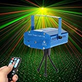 Lilyminiso Remote Control Mini R&G Twinkling Laser LED Stage Lighting Projector Voice-activated Spotlight Equipment with Stroboflash for DJ Disco Club Party Bar Show Christmas (Blue)